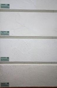 Eine Auswahl an Kalkputzen (ungefärbt) für unterschiedliche Zwecke